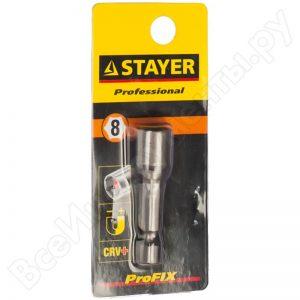 """Бита STAYER """"PROFI"""", с торцовой головкой, """"Нат-драйвер"""", магнитная, тип хвостика Е 1/4, 48мм, 8мм"""