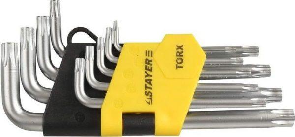 Ключи имбусовые короткие, Cr-V, сатинир. покрытие, пластик. держатель, Т10-Т50 мм, 9 пред.