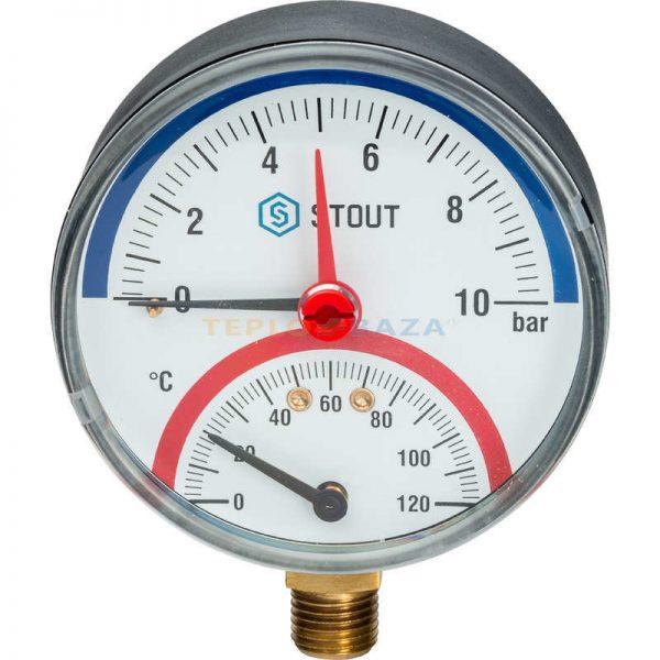 """Термоманометр радиальный 10 бар в комплекте с автомат. запорным клапаном. Корпус Dn 80 мм 1/2"""" STOUT"""