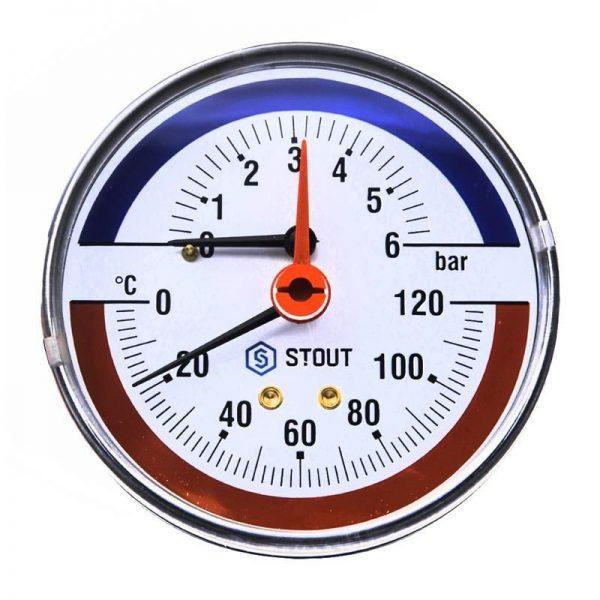 """Термоманометр аксиальный 6 бар в комплекте с автомат. запорным клапаном. Корпус Dn 80 мм 1/2"""" STOUT"""