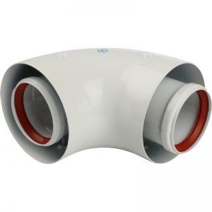 Адаптер для котла DN60/100 угловой 90° коаксиальный (совм с Baxi,Viessmann) STOUTSCA-6010-210190