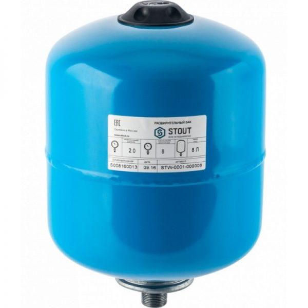 Расширительный бак, гидроаккумулятор 8 л. вертикальный (синий) STOUT
