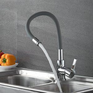 Смеситель для кухни с гибким серым изливом R3193F-5