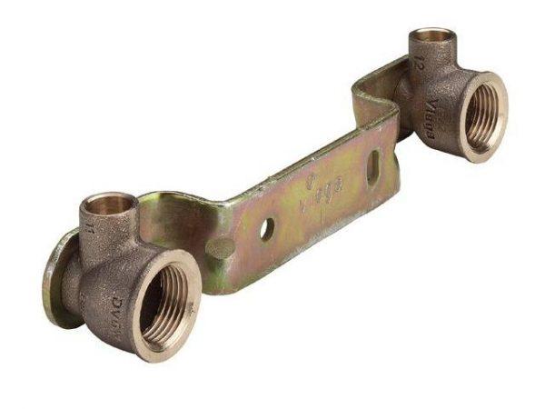 Водорозетка двойная пайка 15х1/2'х межосевое150, бронза, на рельефной планке из оцинк.стали