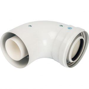 Конденсац.колено 90°/адаптер 90° DN60/100 м/п PP-FE (совмес.Baxi,Viessmann) SCA-8610-210090