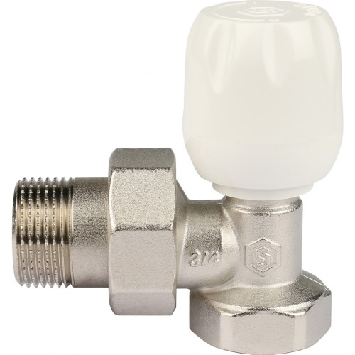 """Клапан ручной терморег. с неподъемным шпинделем угловой 3/4"""" STOUT"""