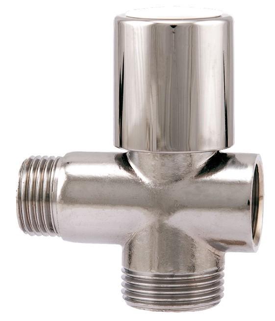Кран шаровой угловой для стирал. машин 1/2х3/4х1/2 трехходовой Itap255