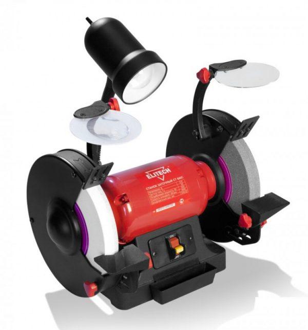 Станок заточный СТ 600С Elitech, 600Вт, 2850об/мин, шлиф.круг-200х32х20мм,14,3кг,лампа