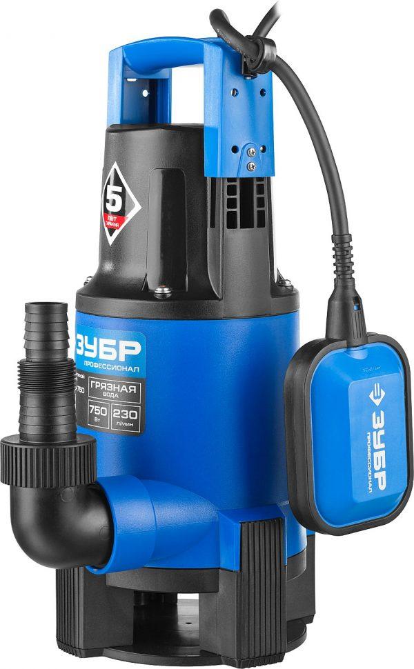 Насос Т3,ЗУБР НПГ-Т3-750 дренаж д/гр.в.750Вт, пропуск 230л/м напор8м