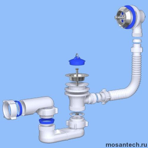 Обвязка на ванну 1 1/2*40 с вып. и переливом плоский E050 АНИ пласт