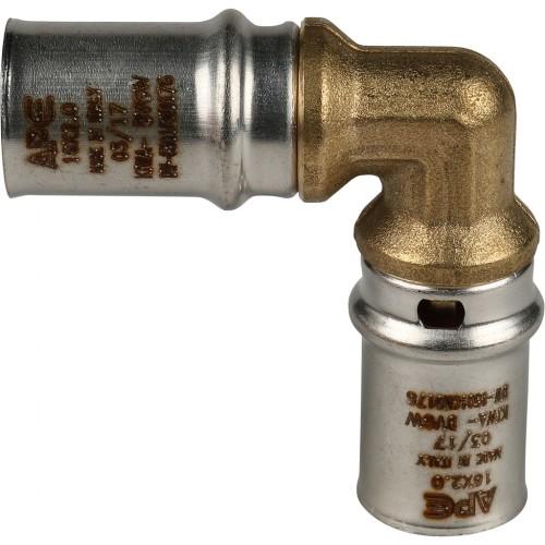 Угольник 20х20 для металлопластиковых труб прессовой STOUT