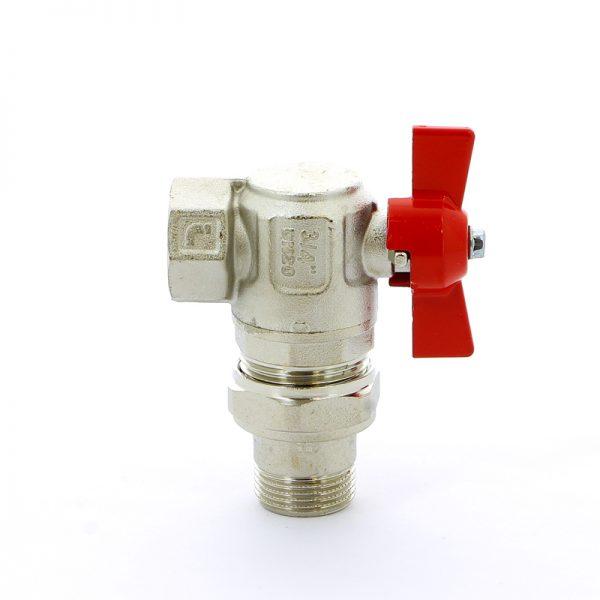 Кран шаровой угловой с накидной гайкой полнопроходной IDEAL бабочка ITAP 1