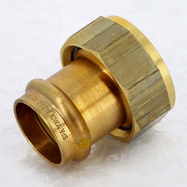 Муфта пресс-В 28х1'1/4 с накидной гайкой плоская прокладка бронза Profipress G SC-Contur