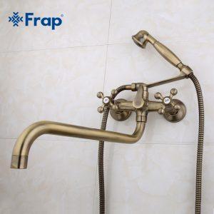 Смеситель для ванны и умывальника 1/2 кер бронза FRAP