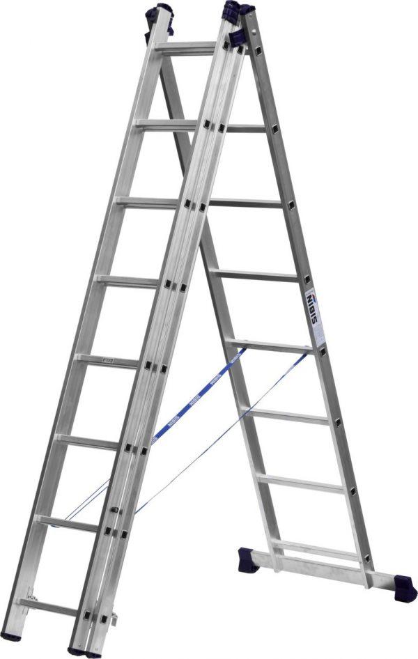 Лестница СИБИН универсальная, трехсекционная со стабилизаторм,8 ступеней