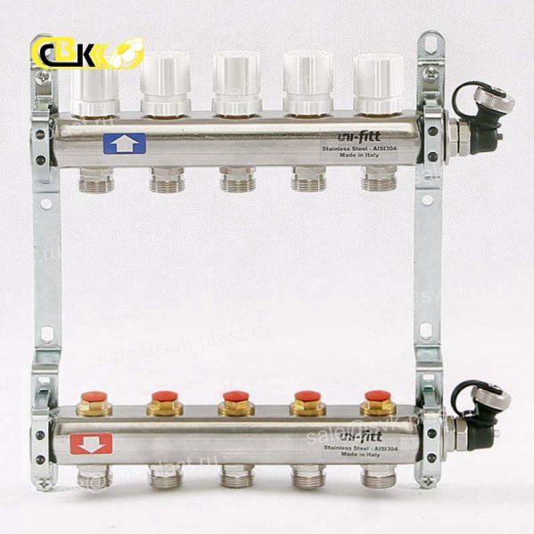 Колл.группа 1'х3/4' 6 вых с регулировочными и термостатическими вентилями, нерж. сталь