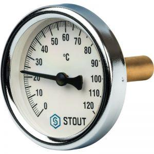 """Термометр биметал. с погружной гильзой. Корпус Dn 63 мм, гильза 50 мм 1/2"""" STOUT SIM-0001-635015"""