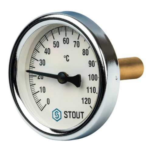 """Термометр биметал. с погруж. гильзой. Корпус Dn 63 мм, гильза 50 мм, резьба с самоупл-ем 1/2"""" STOUT"""