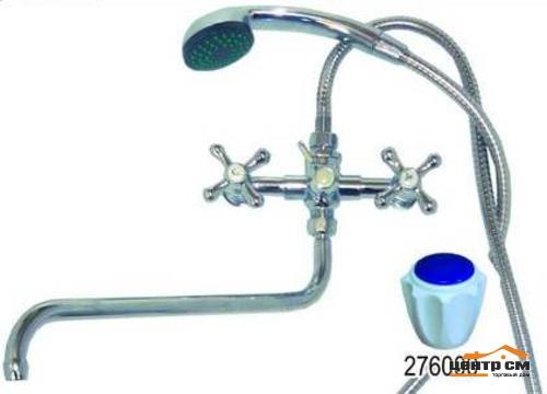 Смеситель для ванны и умывальника 1/2 кер 276119 КРЕСТ мет мах,золотник,мет.шланг