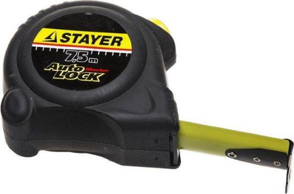 """Рулетка STAYER """"MASTER"""" """"AUTOLOCK"""" корпус с резиновым напылением,7,5мх25мм"""